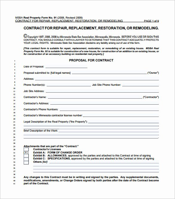 Home Construction Contract Template Best Of 11 Home Remodeling Contract Templates to Download for Free