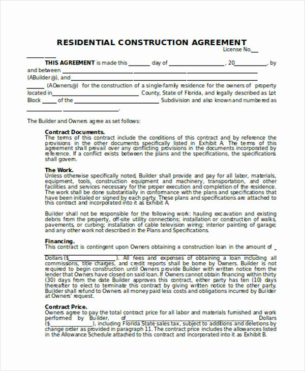 Home Construction Contract Template Best Of 25 Contract Agreement forms In Pdf