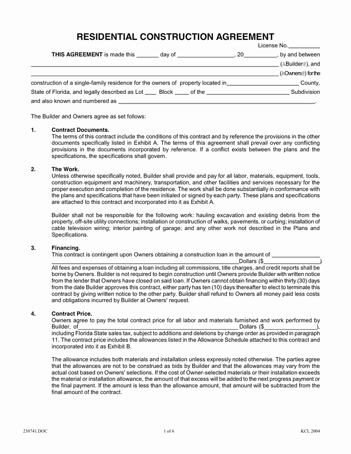 Home Construction Contract Template Best Of Residential Construction Agreement In Word and Pdf formats