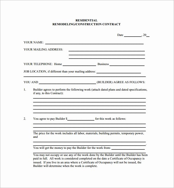 Home Construction Contract Template Elegant 11 Home Remodeling Contract Templates to Download for Free