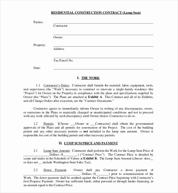 Home Construction Contract Template Inspirational 10 Sample Construction Contract forms