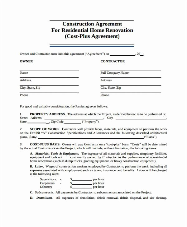 Home Construction Contract Template Inspirational High Quality Contract Samples for Construction with Blank