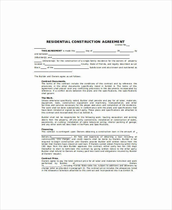 Home Construction Contract Template New 30 Sample Contract Agreements