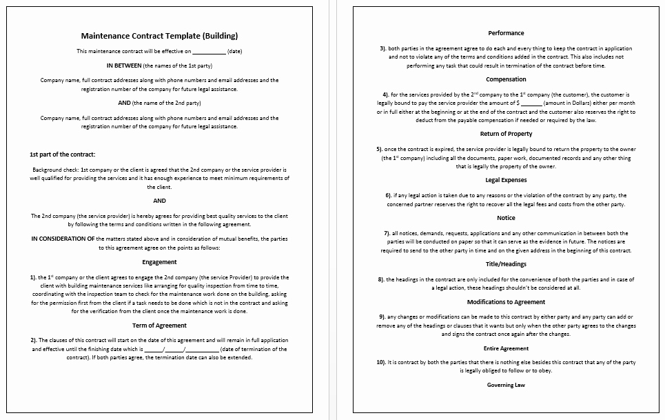 Home Construction Contract Template New 5 Free Maintenance Contracts Samples and Templates