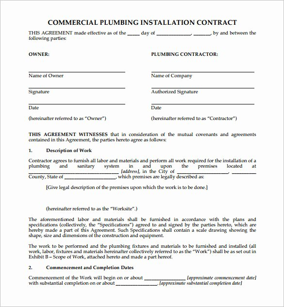 Home Construction Contract Template New 9 Plumbing Contract Templates & Samples Doc Pdf