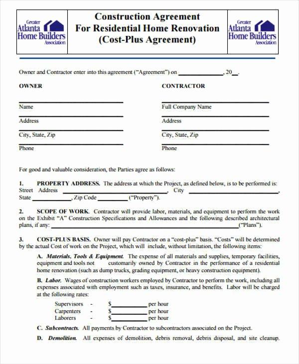 Home Construction Contract Template Unique 7 Construction Contract Templates – Word Google Docs