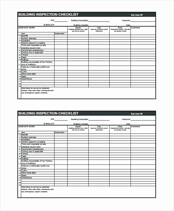Home Inspection Checklist Template Elegant Building Home Inspection Checklist Template Defect Sample