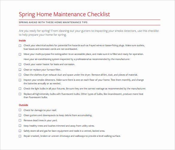Home Maintenance Checklist Template Awesome Checklist Template – 38 Free Word Excel Pdf Documents