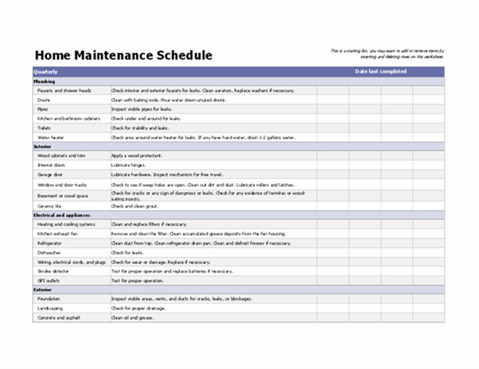 Home Maintenance Checklist Template Awesome Home Maintenance Schedule