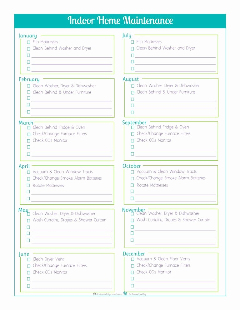 Home Maintenance Checklist Template Beautiful Printable Monthly Bill Payment Checklists