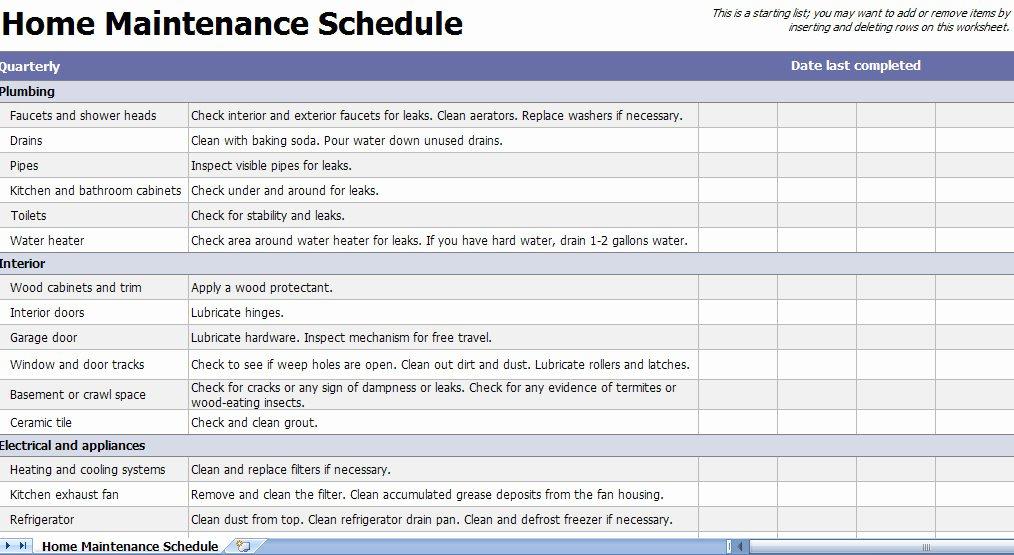 Home Maintenance Checklist Template Fresh Home Maintenance Checklist