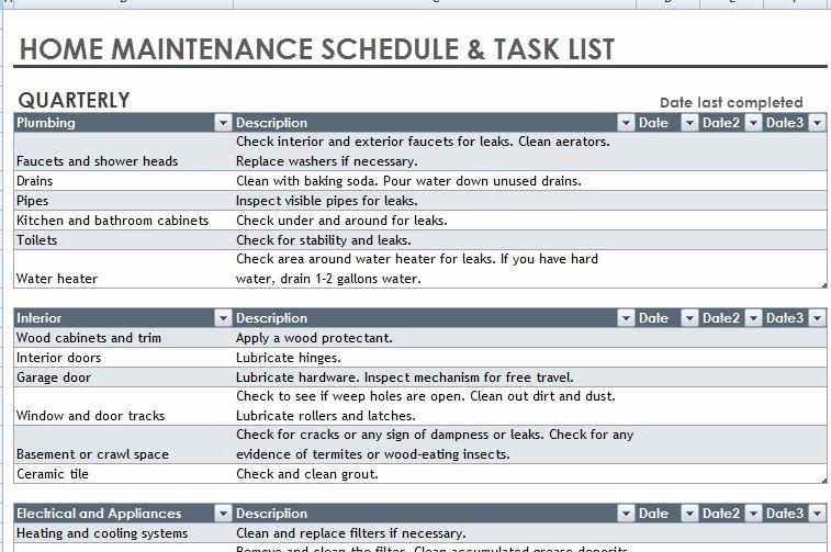 Home Maintenance Checklist Template Lovely Door Schedule Xls & Scope Work Templates Free