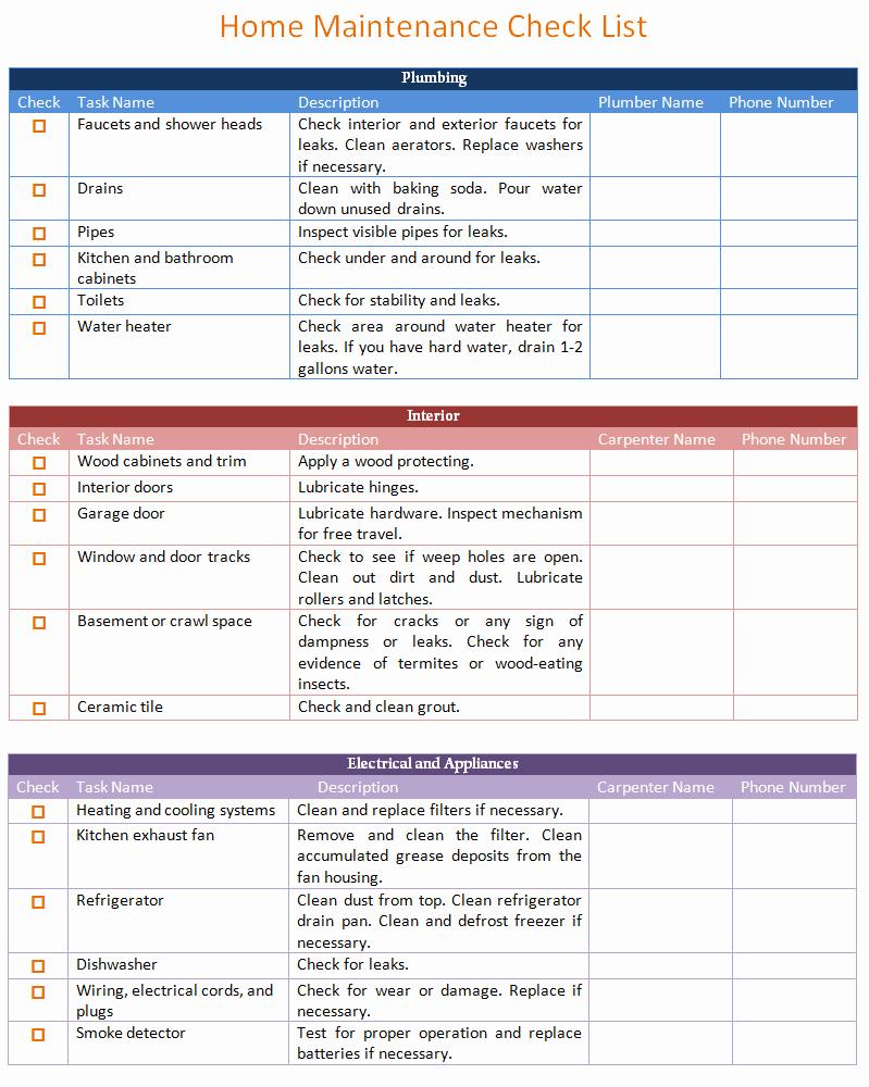 Home Maintenance Checklist Template Luxury Home Maintenance Schedule Template Basic Dotxes
