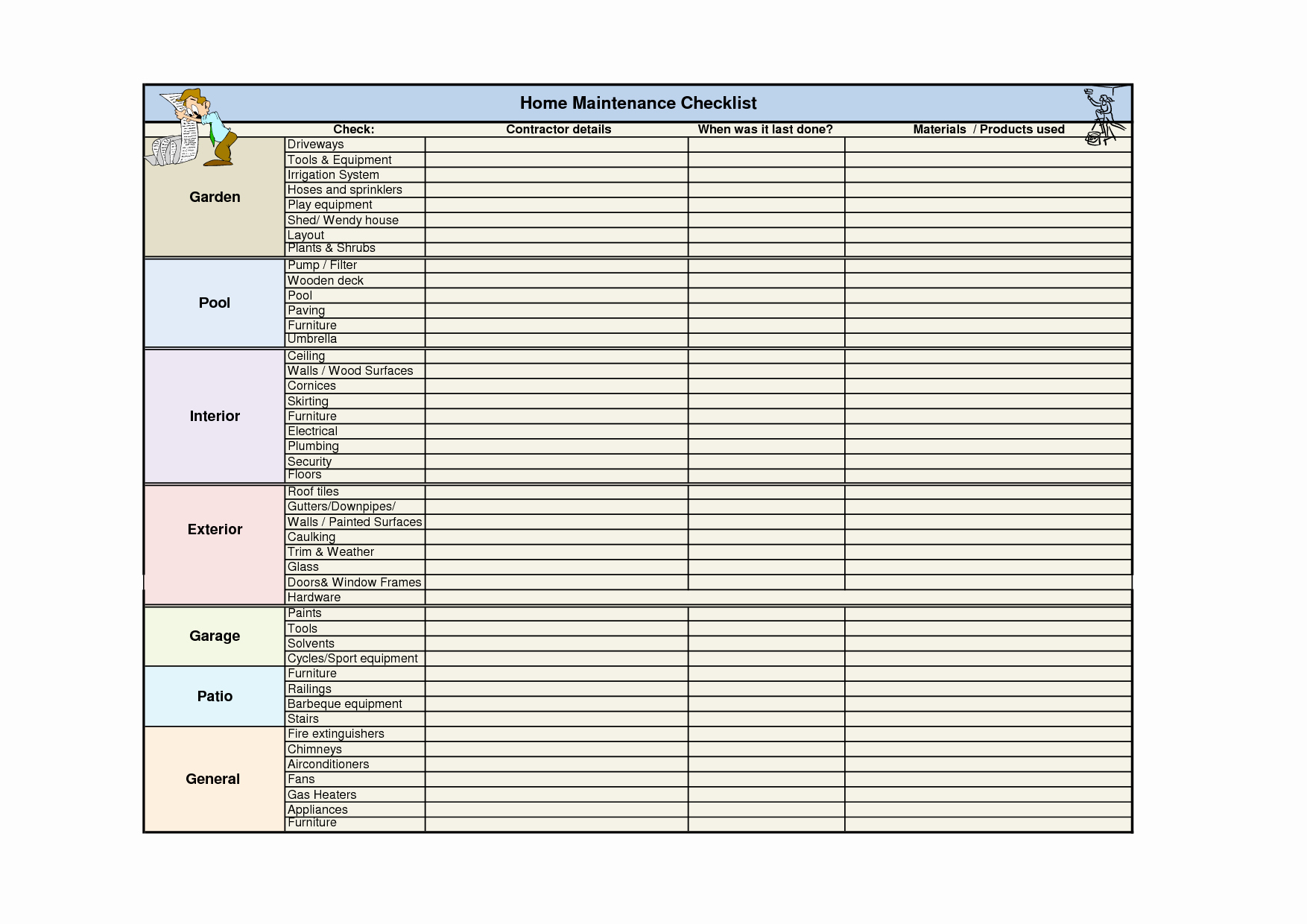Home Maintenance Checklist Template New Related Keywords & Suggestions for Home Maintenance Checklist