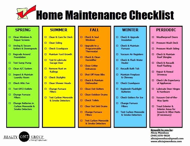 Home Maintenance Checklist Template Unique 1000 Images About Rental Property On Pinterest