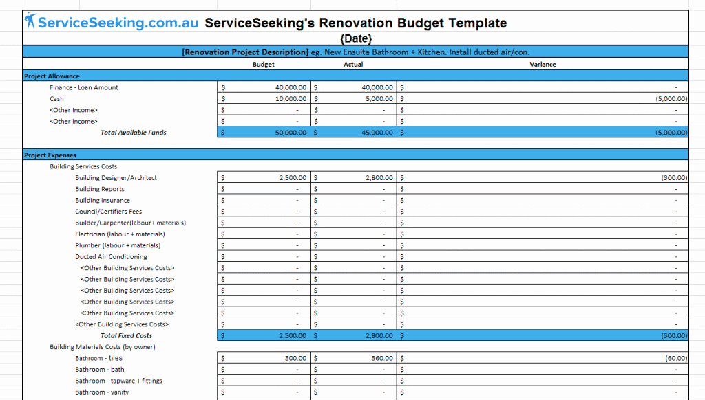 Home Remodel Budget Template Best Of Renovation Bud Template