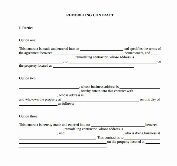 Home Remodeling Contract Template Awesome Remodeling Contract Template 9 Download Free Documents