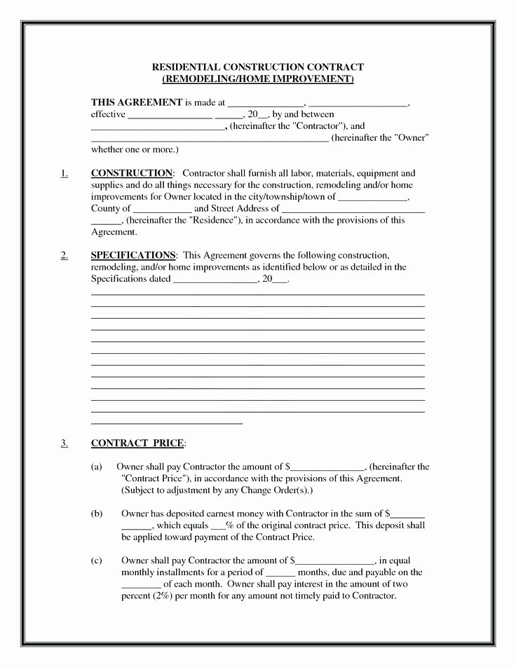 Home Remodeling Contract Template Best Of 18 Builder Contract Template
