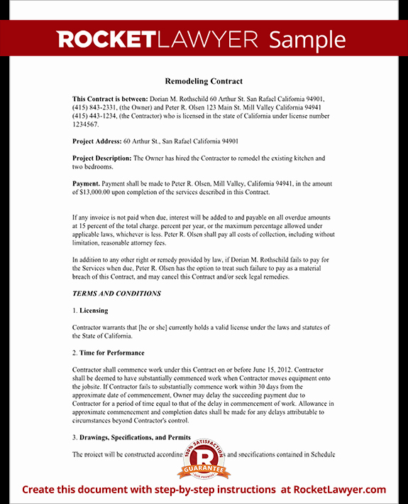 Home Remodeling Contract Template Best Of Home Remodeling Contract form with Sample