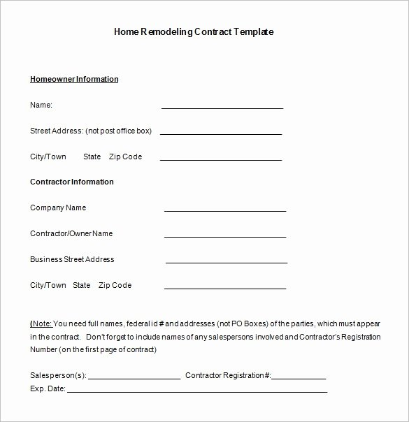 Home Remodeling Contract Template Best Of Remodeling Contract Template