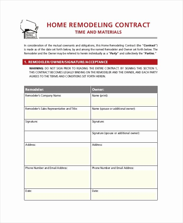Home Remodeling Contract Template Lovely 28 Contract Templates Free Sample Example format