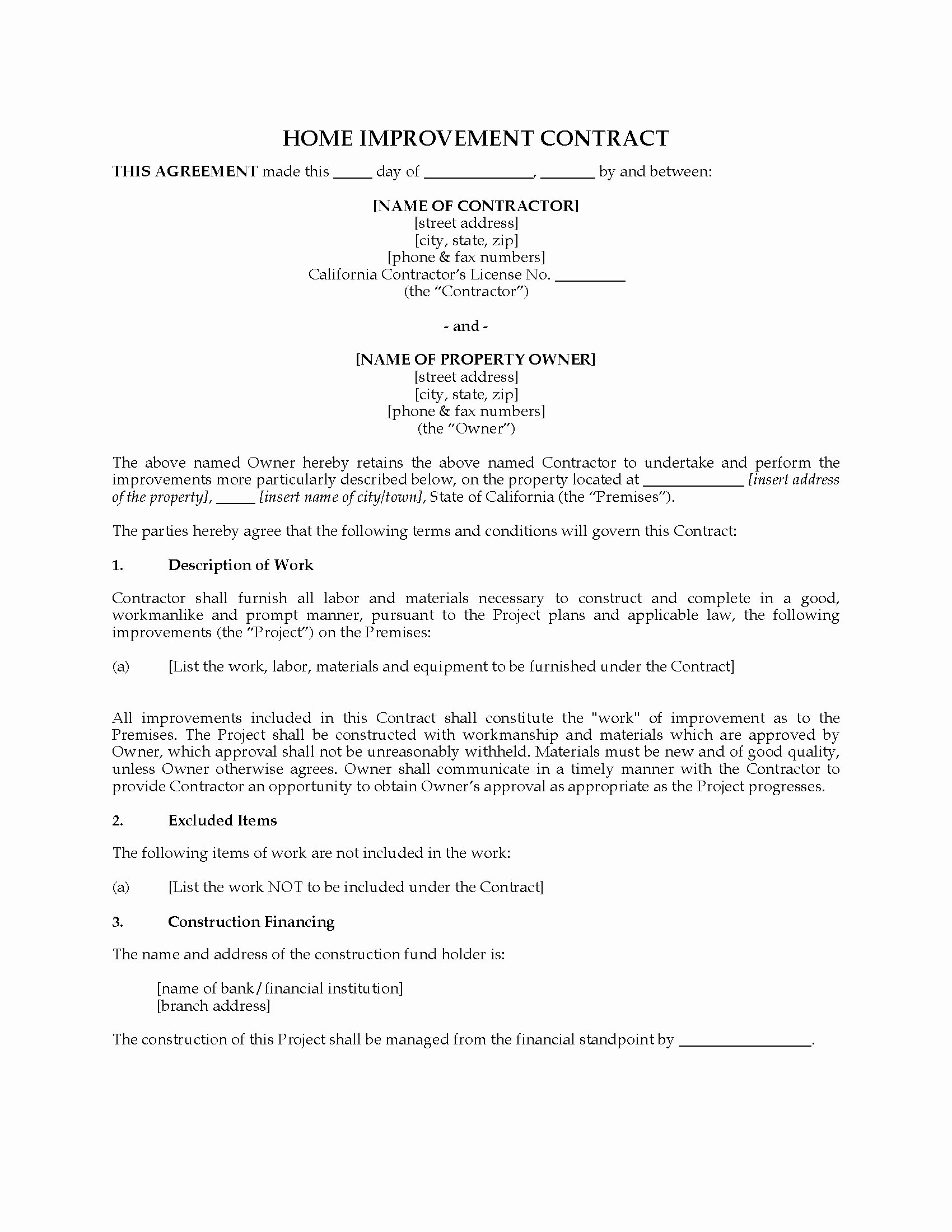 Home Remodeling Contract Template New California Home Improvement Contract