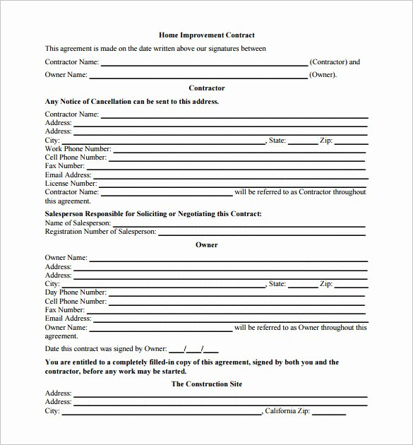 Home Remodeling Contract Template Unique 7 Renovation Contract Templates Doc Pdf