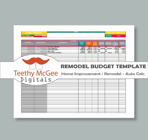 Home Remodeling Project Plan Template New Home Improvement Remodel Bud Template Instant Download