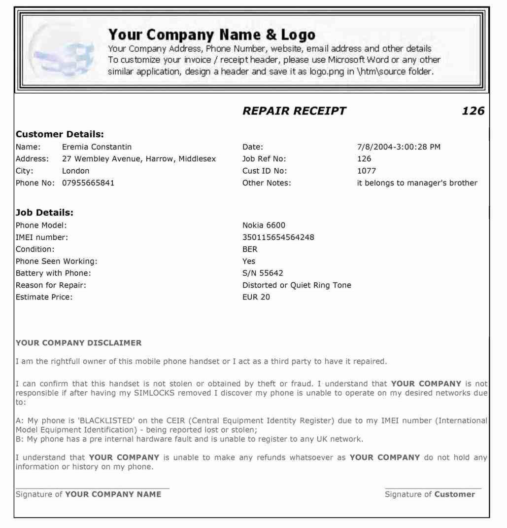 Home Repair Invoice Template Fresh Home Repair Invoice