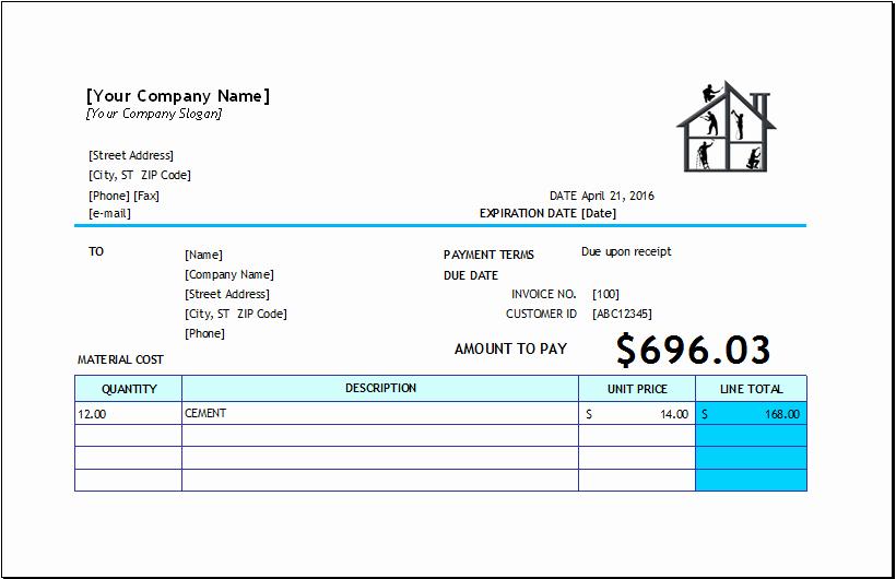 Home Repair Invoice Template Fresh Home Repair Invoice Template