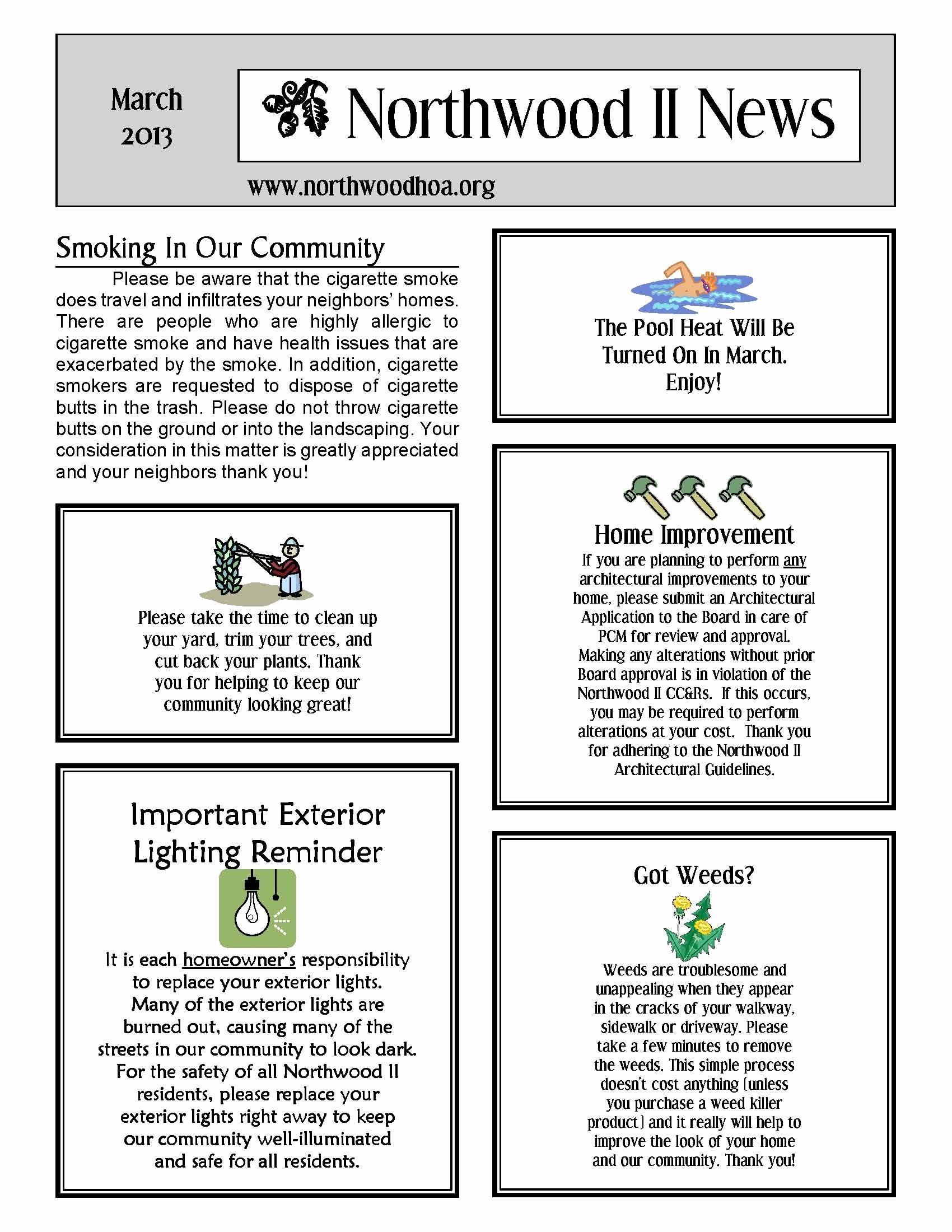 Homeowners association Newsletter Template Awesome March 2013 – northwood Ii Nwii Hoa Munity association