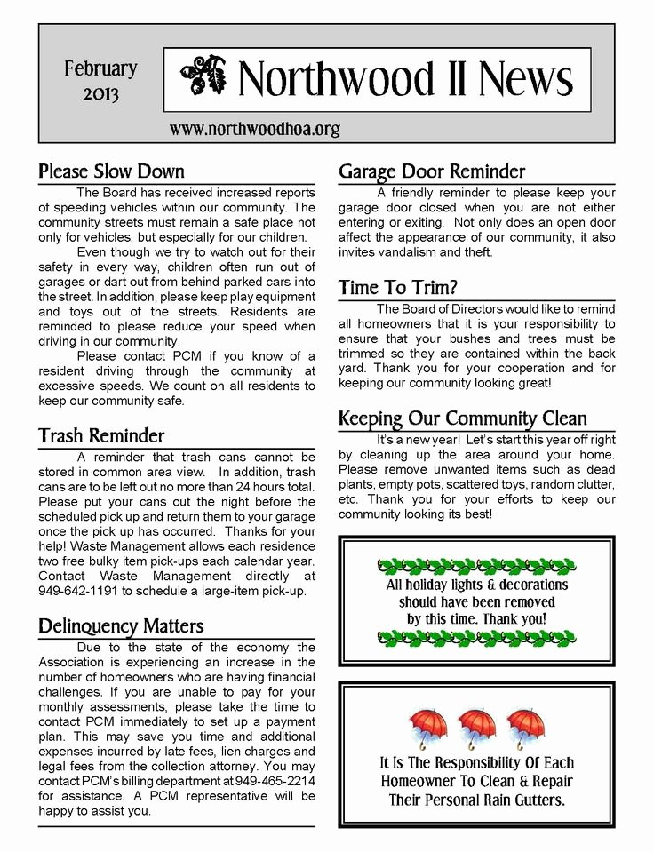 Homeowners association Newsletter Template Beautiful 11 Best Sample Newsletters Images On Pinterest