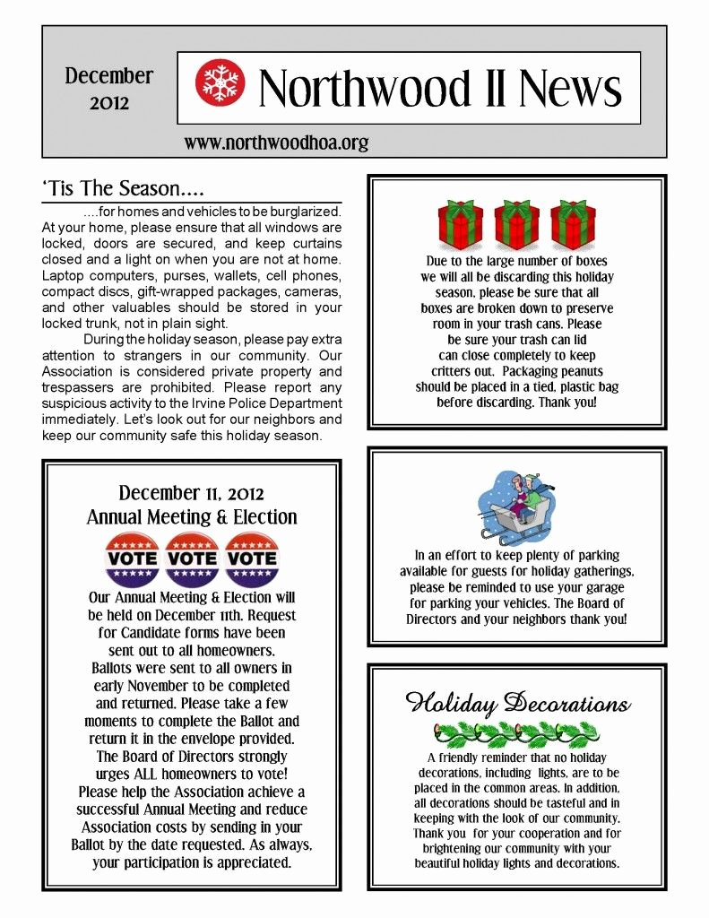 Homeowners association Newsletter Template Best Of December 2012 – northwood Ii Nwii Hoa Munity