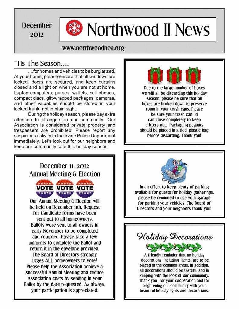 Homeowners association Newsletter Template Best Of December 2012 – northwood Ii Nwii Hoa Munity
