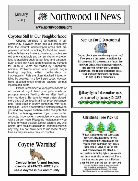 Homeowners association Newsletter Template Best Of January 2013 – northwood Ii Nwii Hoa Munity