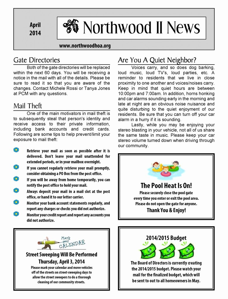 Homeowners association Newsletter Template Inspirational Hoa Newsletter Templates