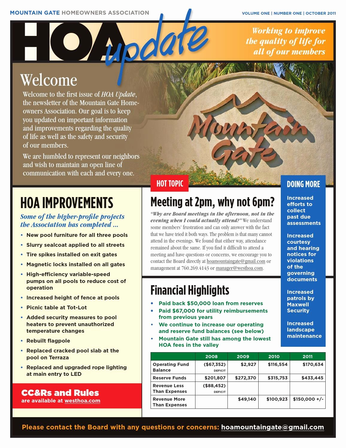 Homeowners association Newsletter Template Lovely Mountain Gate Hoa