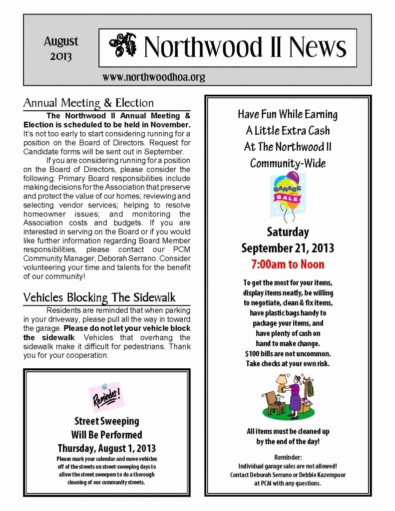 Homeowners association Newsletter Template Luxury August 2013