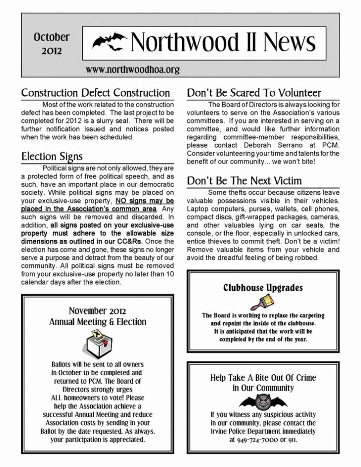 Homeowners association Newsletter Template Luxury Hoa Newsletter Ideas Studiojpilates
