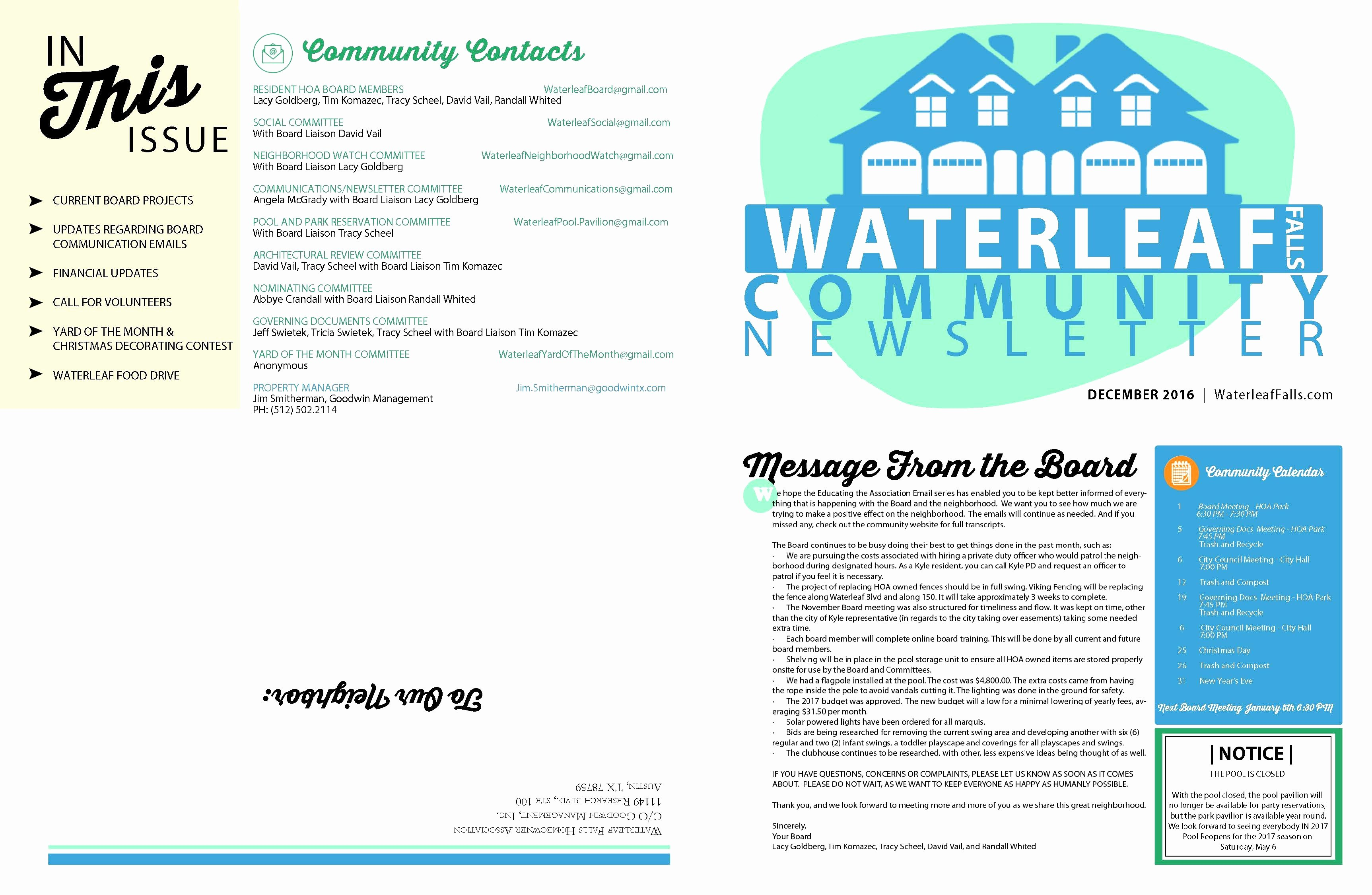 Homeowners association Newsletter Template Unique Homeowners association Newsletter Template Epp Acpfo