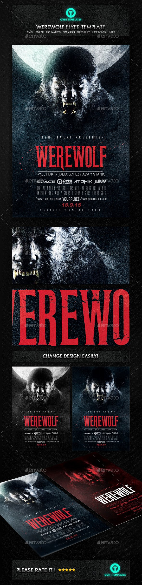 Horror Movie Poster Template Best Of Werewolf Dark Horror Movie Flyer Poster Template Psd