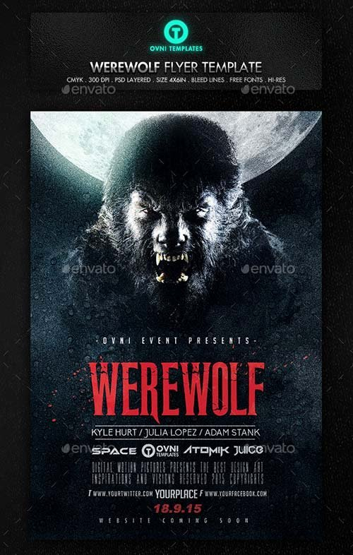 Horror Movie Poster Template Fresh Flyer Templates Graphicriver Werewolf Dark Horror Movie