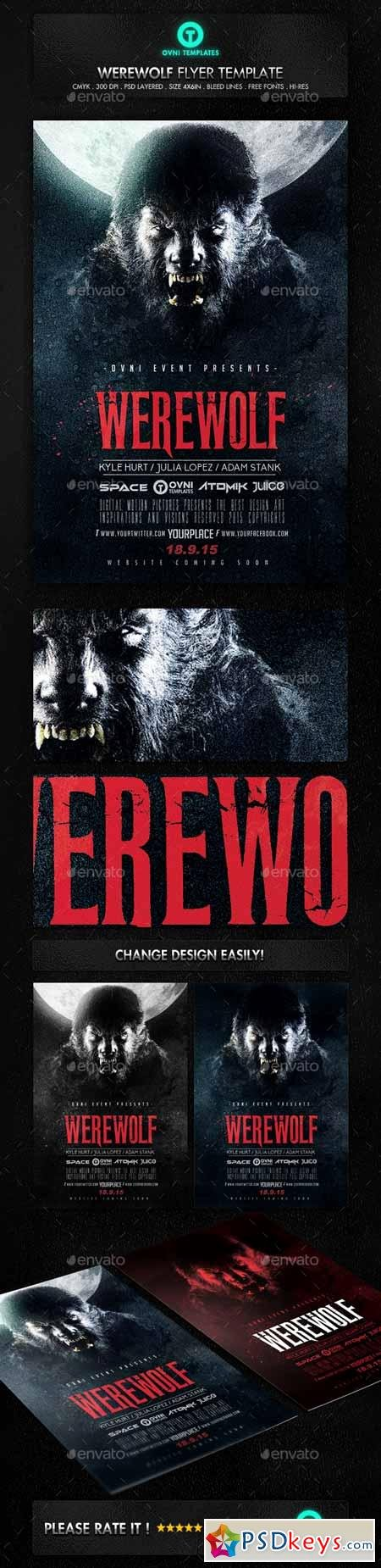 Horror Movie Poster Template Luxury Werewolf Dark Horror Movie Flyer Poster Template Free
