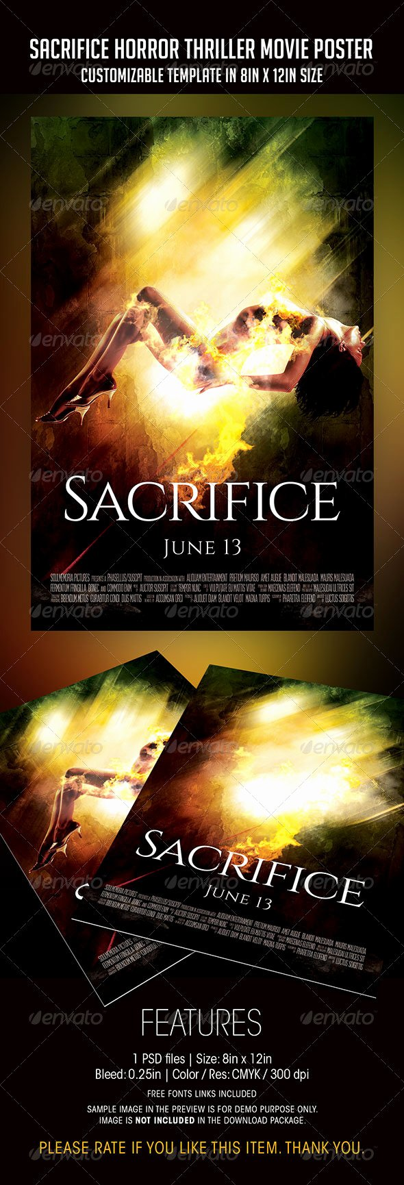 Horror Movie Poster Template New Sacrifice Horror Thriller Movie Poster