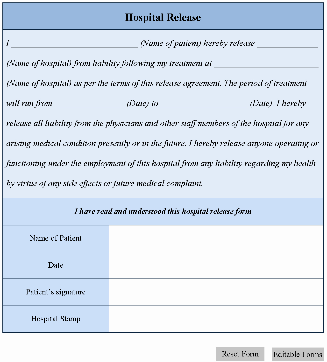 Hospital Release form Template Beautiful Hospital Release form