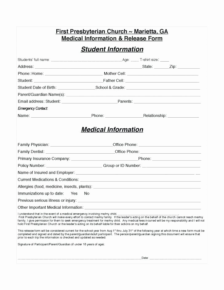 Hospital Release form Template Best Of Medical Release form – Royaleducationfo