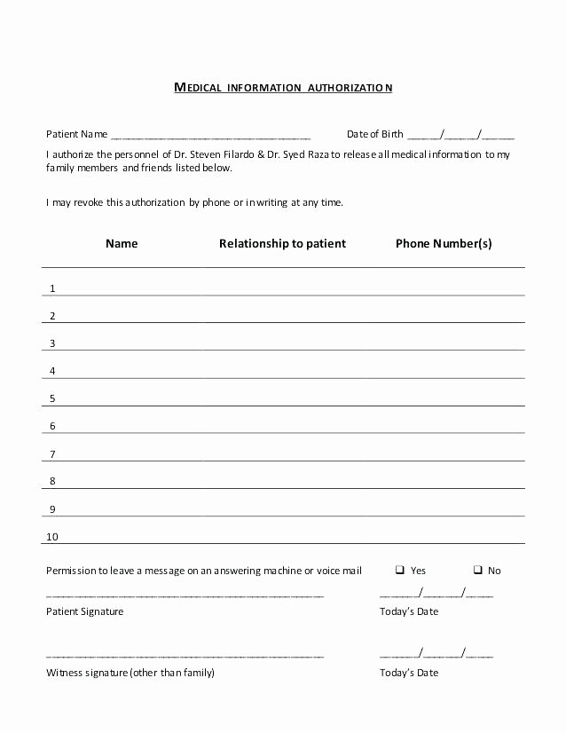 Hospital Release form Template Fresh Medical Release form – Royaleducationfo