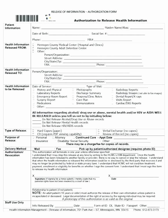 Hospital Release form Template Lovely Hospital Discharge form Example Release Template Sample