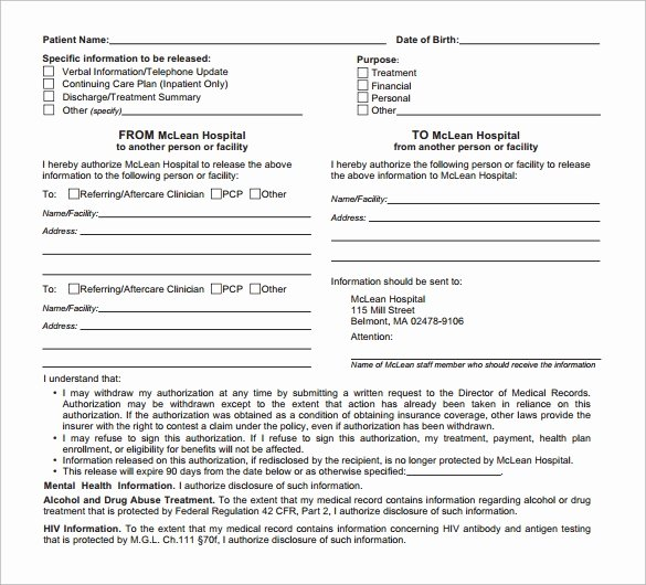 Hospital Release form Template Unique 12 Hospital Release forms to Download for Free