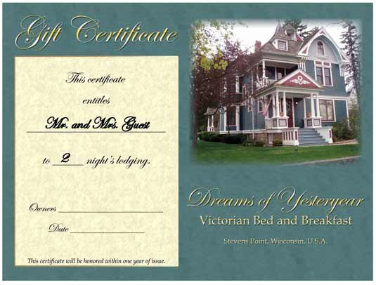 Hotel Gift Certificate Template Lovely Bed and Breakfast Gift Certificate